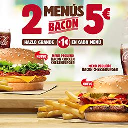 Abrir 2 menú bacon por 5€ en Burguer King