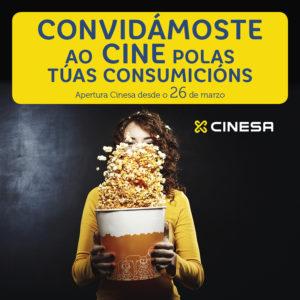 Abrir Consigue entradas de cine gratis coas túas consumicións