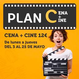 Abrir Ven a disfrutar del Plan C: cena + cine por 12€